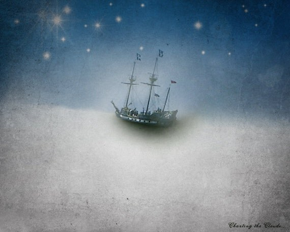 Pirate Ship Decor Art for the Nursery Tall Ship Dreamscape Celestial Dreamy Photography Stars Clouds  - Charting the Clouds