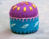 Purple Pincushion Miniature Embroidered Upcycled