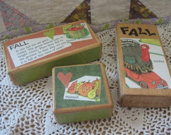 Set of Three Vintage Style Large Toy Storybook Wooden Blocks RICHARD SCARRY Word Book for FALL