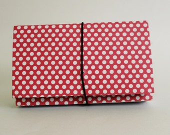 Coupon Organizer  Accordion File Book Red Polka Dots