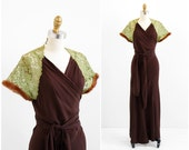 vintage 1930s dress / 30s dress / Brown and Green Wrap Evening Gown with Fur Trim