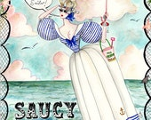 Saucy by Sea 5x7 hand glittered greetings card