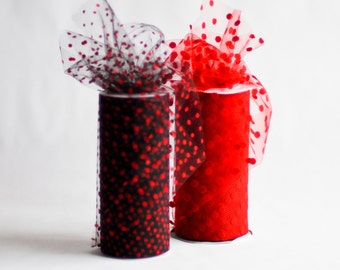 Polka Dot Tulle Spool, Black with Red Dots, 6 inches wide, 25 yards