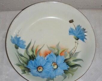 Vintage HP Handpainted Blue Carnation Floral Bowl Signed