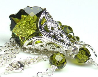 Olivine Green Necklace, Choose Your Crystal Color, Baroque Swarovski Crystal 22mm Sterling Silver Chain, Filigree Bridal Bridesmaids Pendant