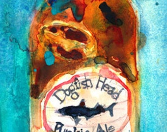 Dogfish Head Punkin Beer Ale Beer Print Original Watercolor (Print Size - 8.5  x. 11 or 11 x 14)