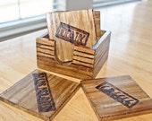 Wood-burned Travel  Destination Coasters