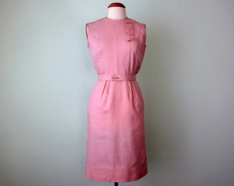 60s dress / petal pink linen sheath sleeveless belted fitted waist (s - m)