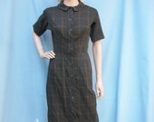 50% Off Sale 50s 60s Loden Green Plaid Day Dress size Small Extra Small Wiggle Dress CRAELY