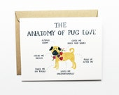 Anniversary, Love, Friendship Card - Anatomy of Pug Love