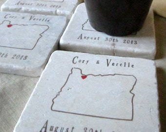 Personalized Oregon State Outline Wedding Favor Coasters - Set of 25