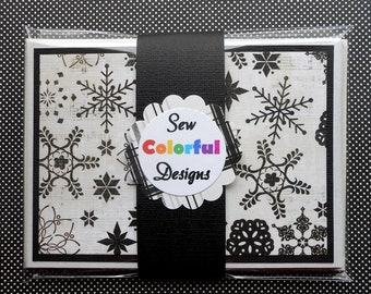 Holiday Card Set : 4 Hand-Stamped Greeting Cards with Matching Embellished Envelopes - Simple Season