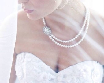 Wedding Jewelry Bridal pearl necklace rhinestone wedding jewelry, bridesmaid pearl necklace double strand necklace
