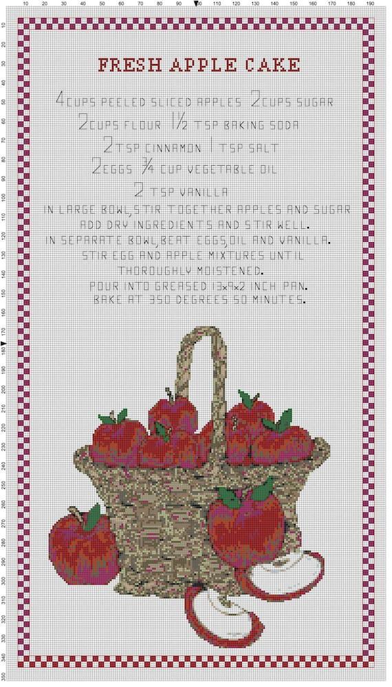 Fresh Apple Cake Recipe Cross Stitch Wall Hanging Original