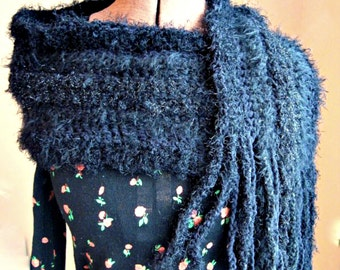 Modern vintage. Black faux fur textured hand crochet warm winter scarf with fringe. Eyelash yarns. Bling.