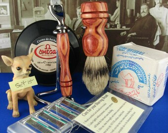 Wet Shaving,Mach 3 Black TN Razor,For The Lady or Man,Shave Set,Silvertip Badger,Chrome Stand, Tulipwood, Personal Engraving,Set 15