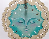 Mixed Media Hand Painted Light Blue Divine Face Ornament Hanging Art by A.Blake