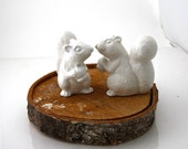 Wedding Cake Topper White Squirrels , ceramic squirrel set of two , 4.25 inches high, white, woodland wedding