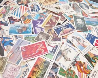 GRAB BAG for postcards .. random eclectic mix .. UNused Vintage Postage Stamps .. to post 25 postcards