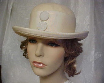 SALE beautiful white wool derby hat with 2 front buttons- fits 22 inches