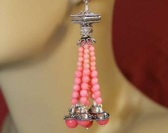 The Ariel Salmon Pink Coral and Bali Sterling Grand Tassel Earrings