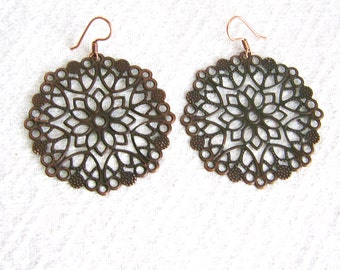Large Round Copper Filigree Pierced or Clip On Earrings