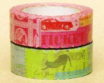 NamiNami Washi Masking Tape - Vintage Motif in Pink & Blue