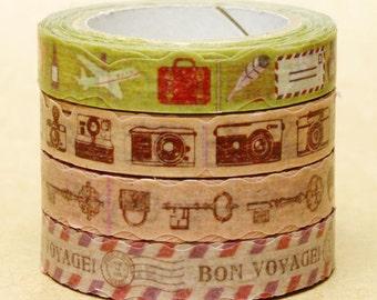 NamiNami Washi Masking Tape - Travel, Camera, Key & Stamp - Slim