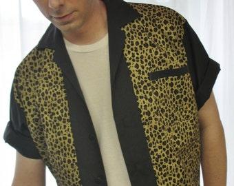 Mens Rockabilly Shirt Jac Leopard Print