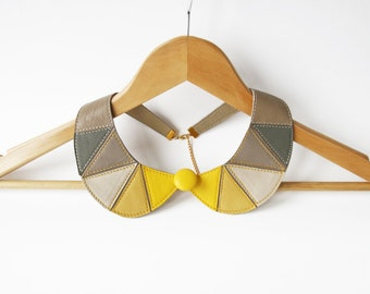 Leather Bib Necklace Mustard Yellow Grey Leather Necklace Peter Pan Detachable Collar Gift Idea