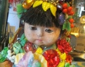 Wendy Gell Collectible-Fantastic Asian Baby Doll Harvest Festival with Bakelite and Jewels Vintage 1980's