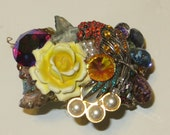 Wendy Gell Tropical Parrot Cuff with Yellow Flower and jewels OOAK Pop Art Vintage
