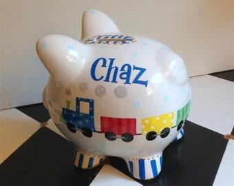 Personalized Piggy Bank Train Design Size Small