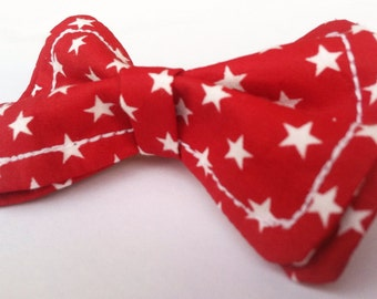 Boys Bow Tie- White Stars Flying on Red Bow tie - Bow Ties Toddler -Newborn Bow Tie - Patriotic Bow Tie - July 4th Bow Tie - 4th of July Tie