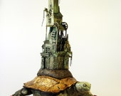 Turtlaneum Imperialis - Surrealistic Turtle on wheels Castle Sculpture.