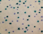 Super tiny tossed teal blue and periwinkle stars cotton fabric yardage
