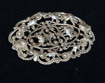 Fancy Lacey Brooch, Large, Vintage Repousse Filigree, French Victorian Style, Silver Stamped Metal, Mint Condition