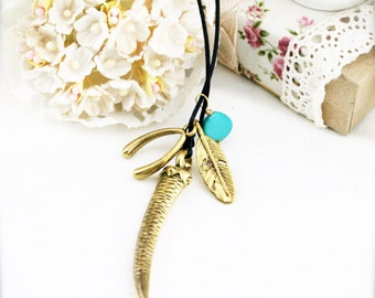 Turquoise triple charms necklace