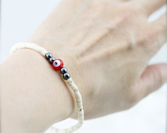 Evil eye stretchy (unisex) bracelet -  white coco heishi and gemstone