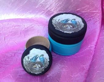 Blue Birds, Bird in Nest,  Powder Box, Pill Box, Jewelry Boxes, 2 piece set, Gift boxes