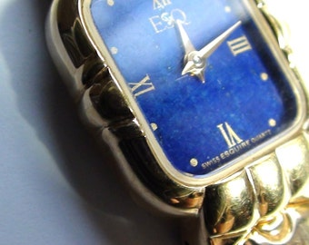 MOVADO Esq Lapis Lazuli Face Ladies Watch 18k gold Plated Swiss Made Working  On SaLe Now