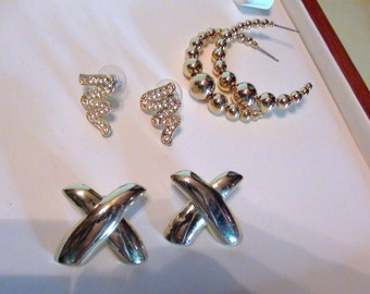 Vintage Lot  Costume Jewelry 3 Pairs Earrings Pierced 14k gold plated Hoops X and Crystal Sparkle Post On SaLe Now