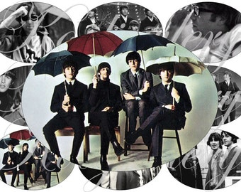 The Beatles in large oval for belt buckle and more digital collage sheet No.1265