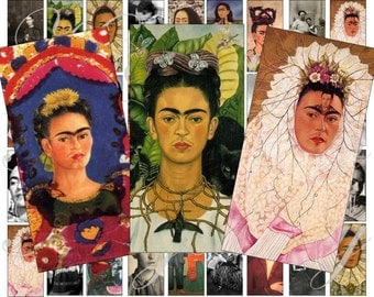 Frida Kalho Domino Size 2x1 for pendant, scrapbook and more digital collage sheet No.27