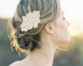 "Vintage inspired gold floral hair clip with crystals ""Mila"""