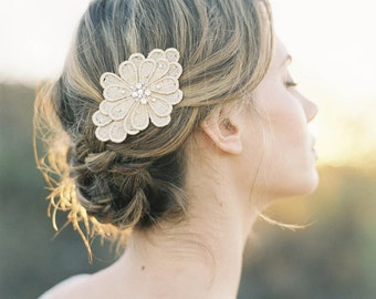 """Vintage inspired gold floral hair clip with crystals """"Mila"""""""