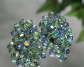 Silvertone and AB Blue and Green Bead Costume Clip Earrings