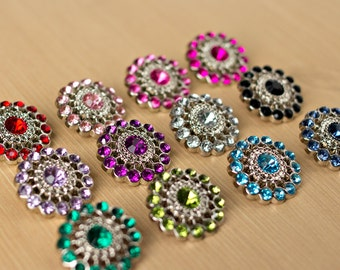 Rhinestone Button - 5 - Acyrlic Rhinestone Buttons - Several Colors Available - Chloe Button - 26mm - Plastic Buttons - Acrylic Buttons