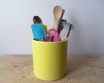 Large Yellow Utensil Holder/Flower Pot