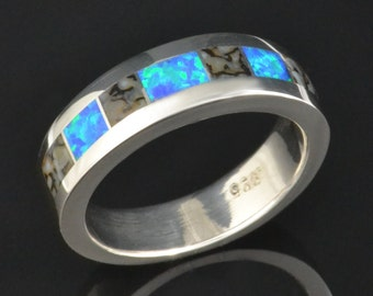 Gray dinosaur bone and lab created opal ring in sterling silver by Hileman Silver Jewelry